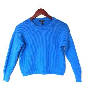 Forever 21 bright blue cropped chunky sweater